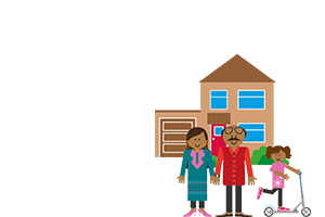family infront of a house illustration
